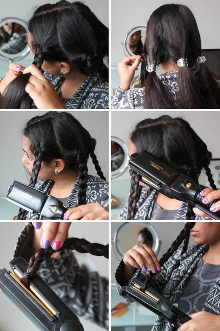 faire-des-boucles-avec-un-fer-à-lisser-tresses-cheveux-noirs-miroir-manucure-multicolore
