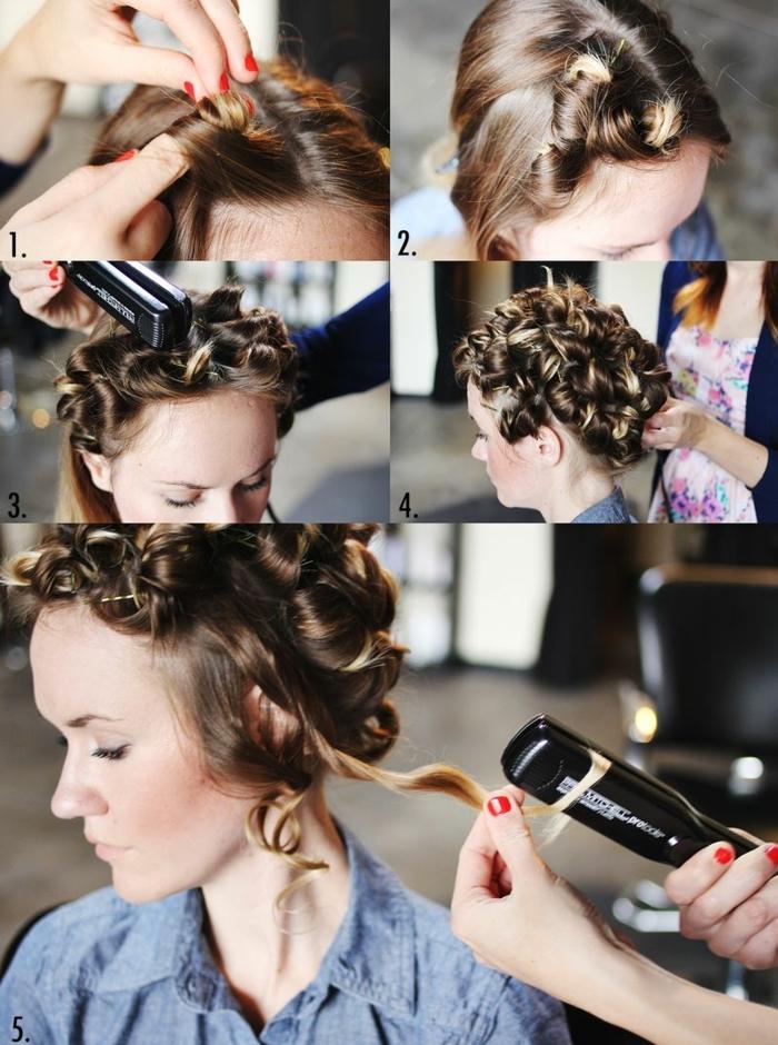 faire-des-boucles-avec-un-lisseur-coiffure-originale-meches-manucure-rouge