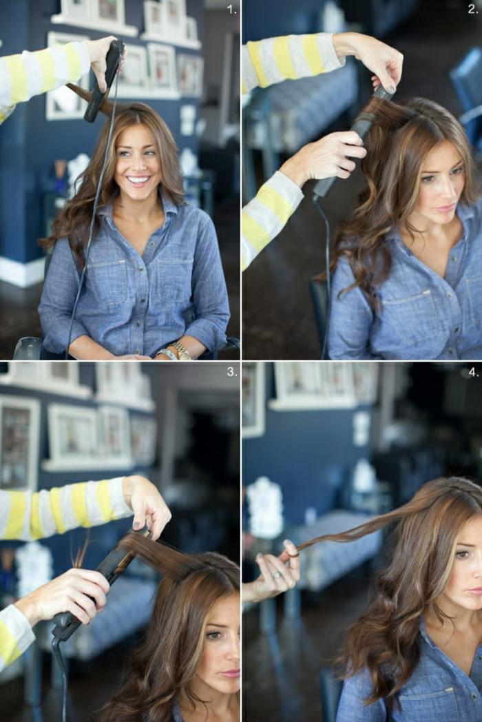 faire-des-boucles-avec-un-lisseur-sourire-chemise-jeans-etapes-a-suivre-tuto