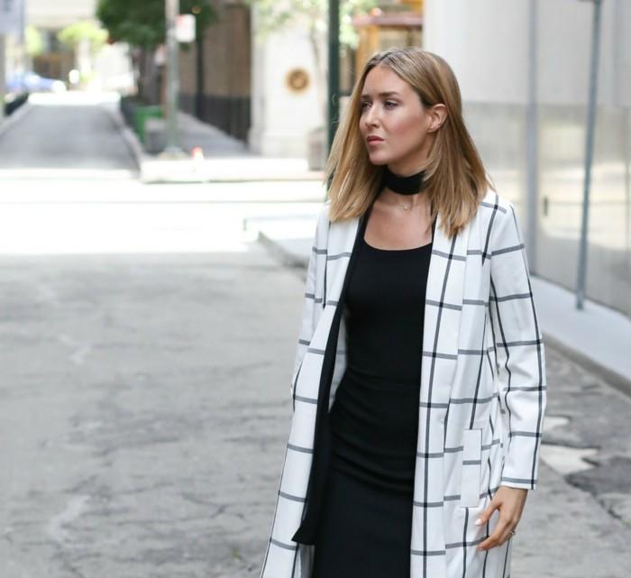 Magnifique ras du cou noir collier a la mode manteau logn
