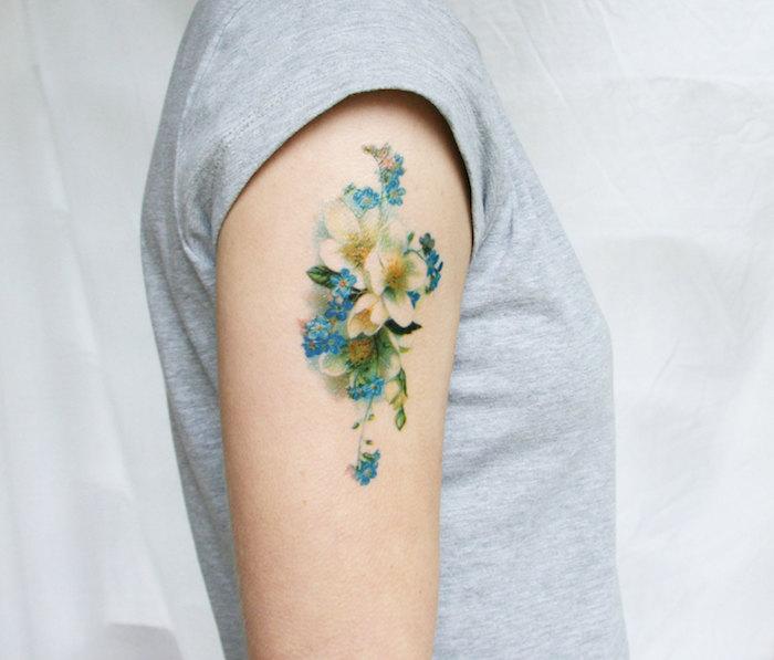 faux tatouages decalcomanie couleurs fleurs bleu vert