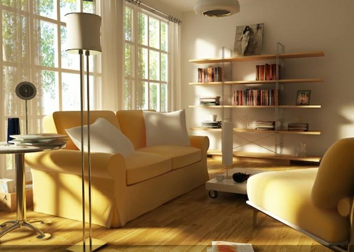 feng shui facile, canapé jaune, lampe blanche, étagère en bois claire, table ronde