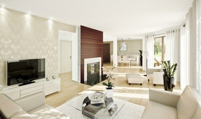 salon feng shui, plafond blanc, mur en papier paint, parquet en bois claire