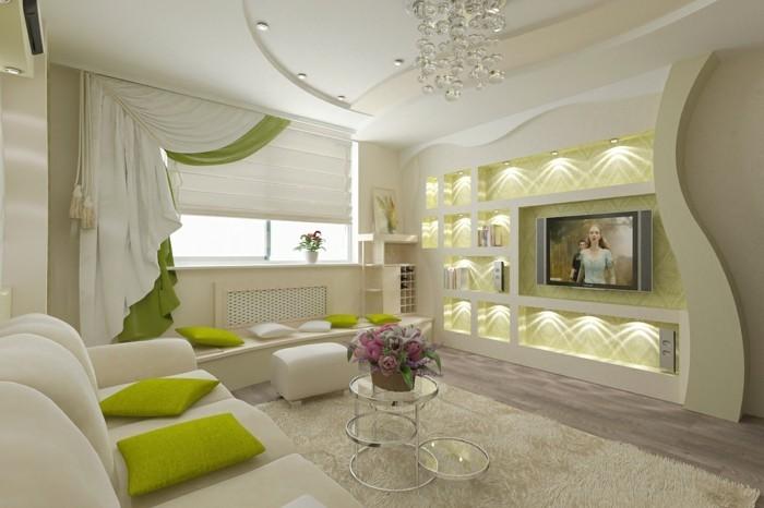 salon feng shui, coussins verts, rideaux blancs, éclairage, plafond suspendu, canapé blanc