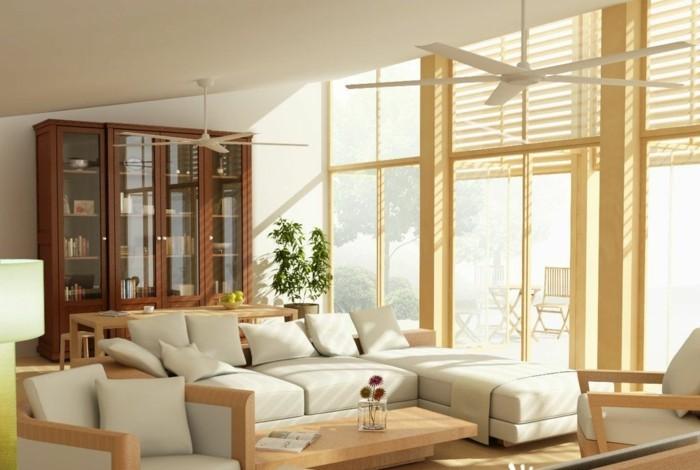 maison feng shui, ventilateur de plafond, meuble en bois, murs blancs, plante verte