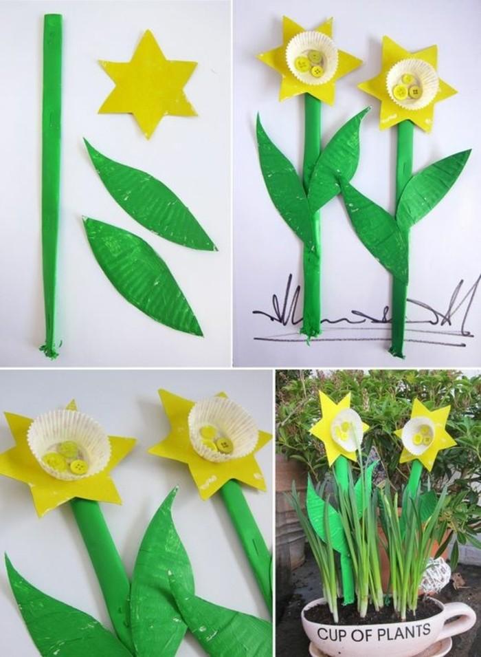 fleurs-en-papier-jonquilles-fabriquées-à-partir-d-une-moule-à-muffins-pétale-idée-d-activité-créative-eprintemps-pour-enfant-et-adultes-deco-fleurs-récup