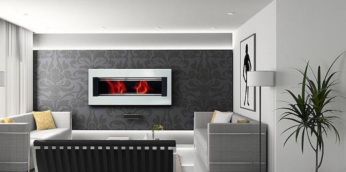 foyer fermé cheminée murale design moderne contemporaine insert