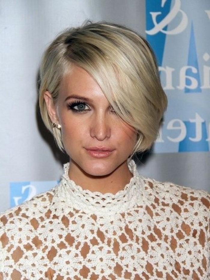 frange longue sur cheveux blonds coiffure courte
