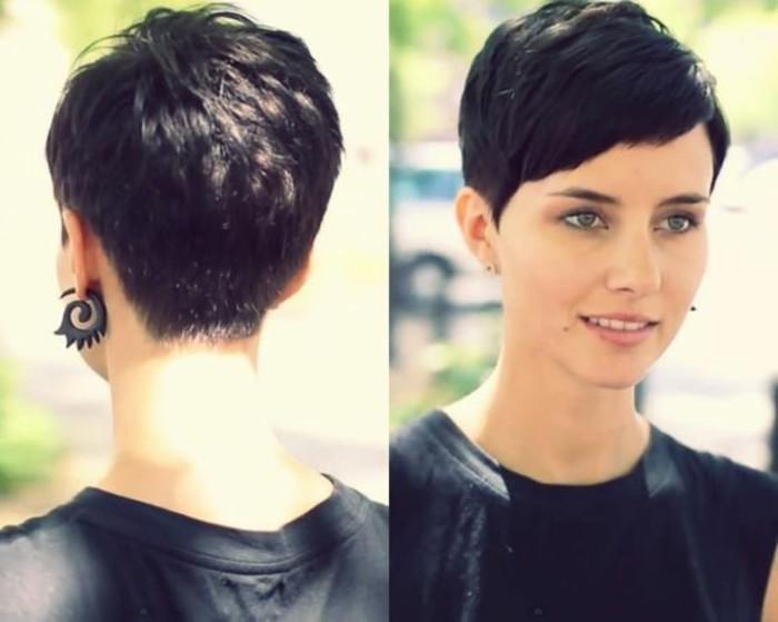 frange sur le côté, coiffure courte et cheveux noirs