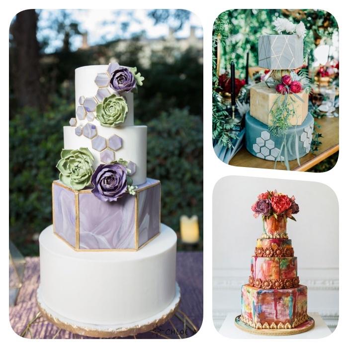 gateau mariage anniversaire style géométrique avec des couches de gateau en forme d hexagone et autres formes geometriques