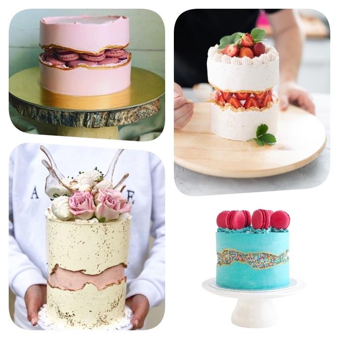 modeles gateau original cake fault line, exemples gateau illusion avec une bande d interruption par le milieu, centre billes colorées, fraises, macarons rose