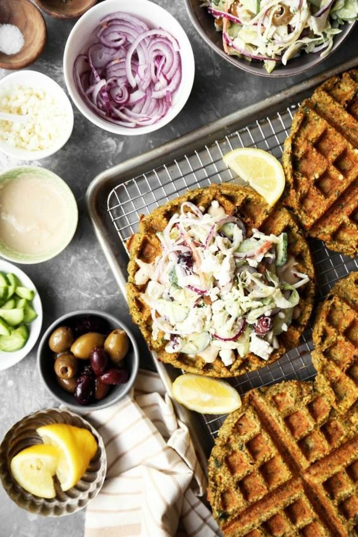 comment préparer une pâte à gaufres pour falafel, falafel fait maison avec des gaufres