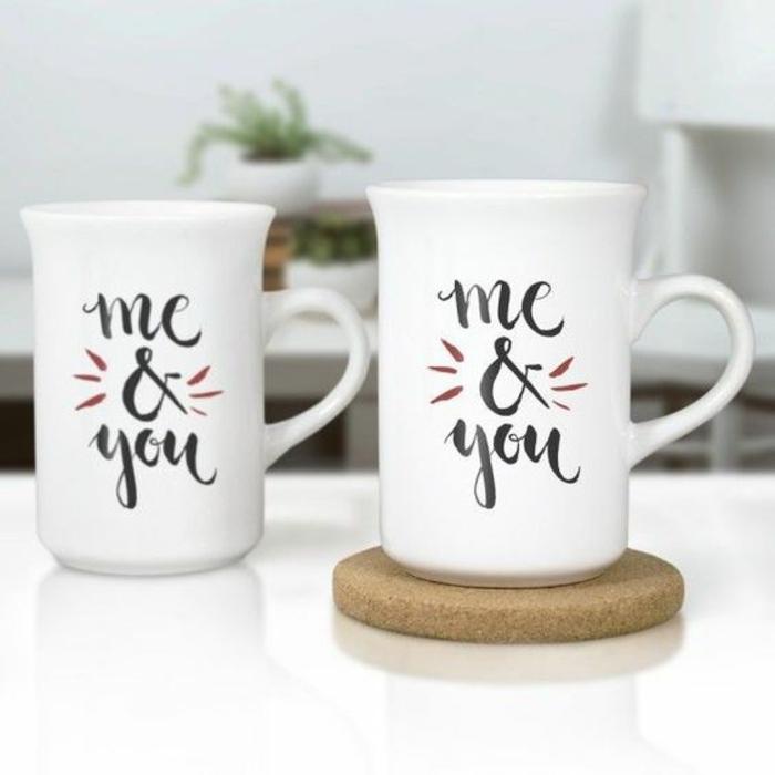 gobelets personnalisés, tasses romantiques me and you