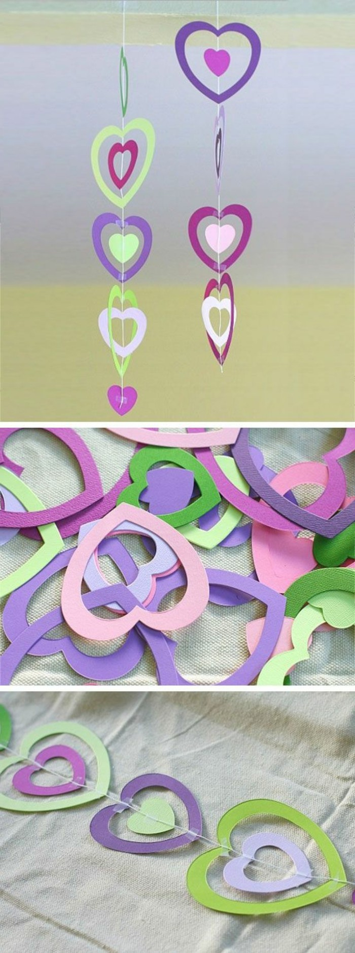 une guirlande faite de coeurs multicolores découpés dans du papier, idée activité manuelle maternelle intéressante