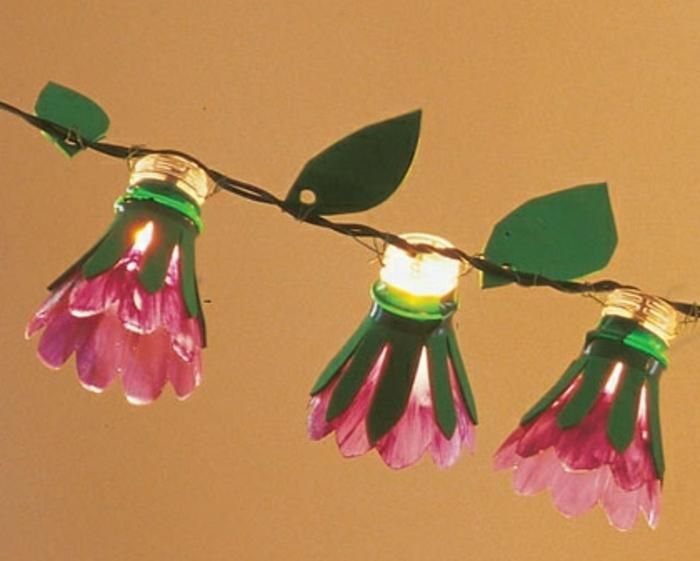 activité créative printemps, guirlande lumineuse, lumières fleurs rose, idée deco interieur maison a faire soi meme