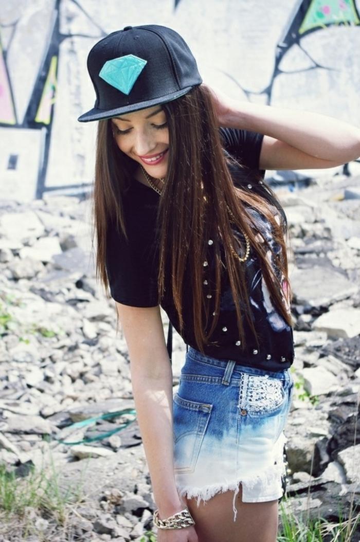 comment etre swag, casquette noir, diamant, t-shirt originale, shorts