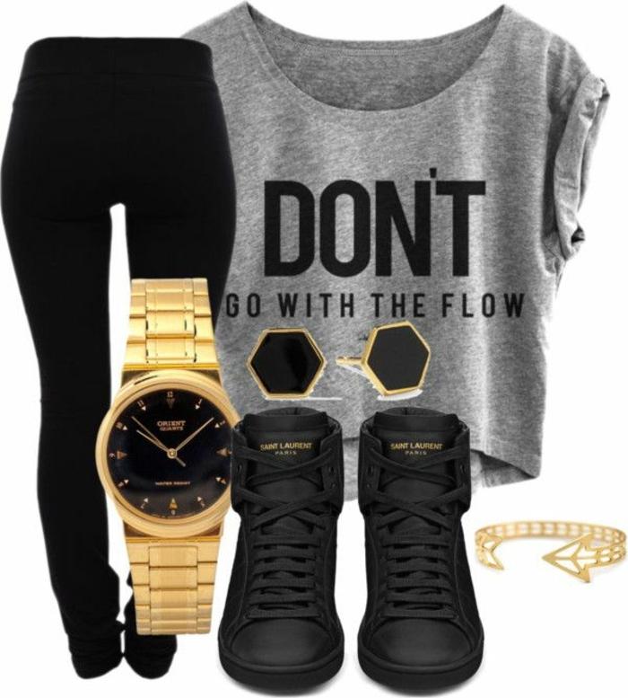 comment bien s habiller ado, t-shirt gris avec citation, basket noirs