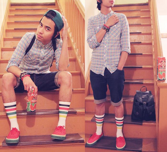 chaussettes hautes homme skate bandes couleurs