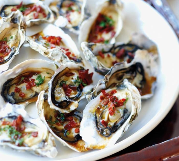 huîtres aliments riches en fer, plat principal, en cas de déficit de fer, idée fruits de mer pour lutter contre l'anémie