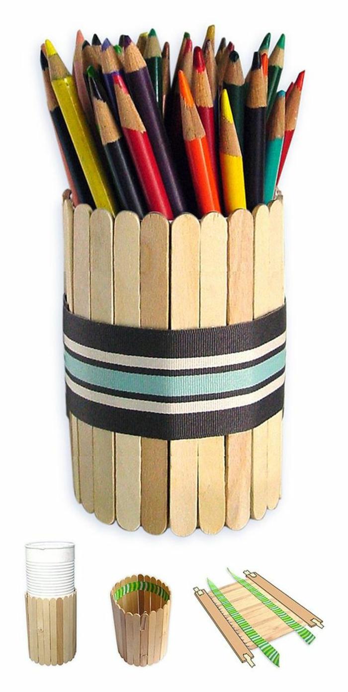 idée-cadeau-fête-des-pères-à-fabriquer-soi-même-idée-comment-fabriquer-un-pot-à-crayon-à-partir-de-batonnets-de-bois-rangés-en-cercle