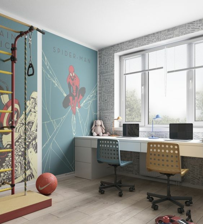 idée-chambre-d'ado-garçon-papier-peint-spiderman