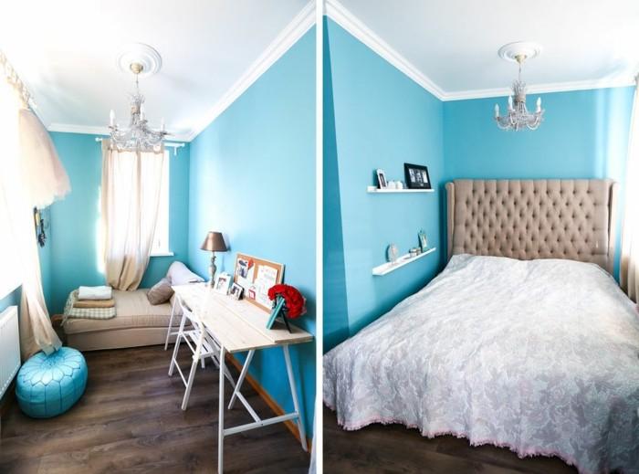chambre turquoise, parquet en bois, pouf, murs turquoise, lustre en cristaux