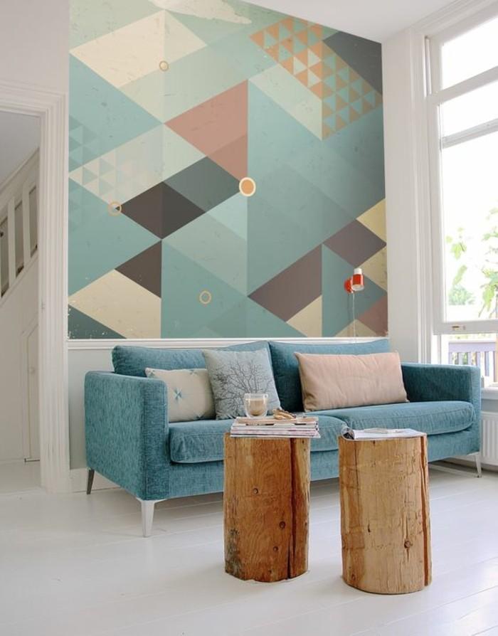 idée-revêtement-mural-salon-papier-peint-géométrique-