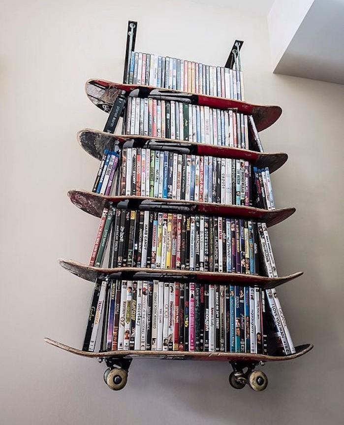 idée bibliothèque diy etagere skate planche skateboard