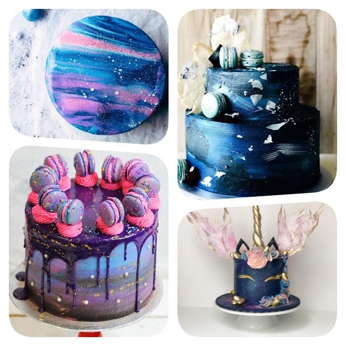 gateau galaxie, tendance gateau pinterest 2020, gateau glacage miroir avec des couleurs violet, bleu et rose