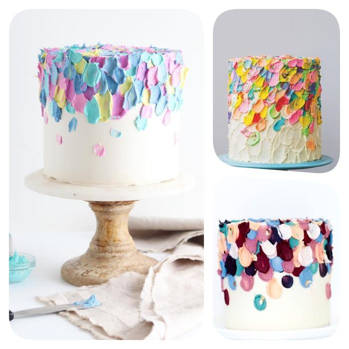 gateau creme au beurre, touche de creme abstraits faites avec une spatule, gateau d anniversaire original et artistique