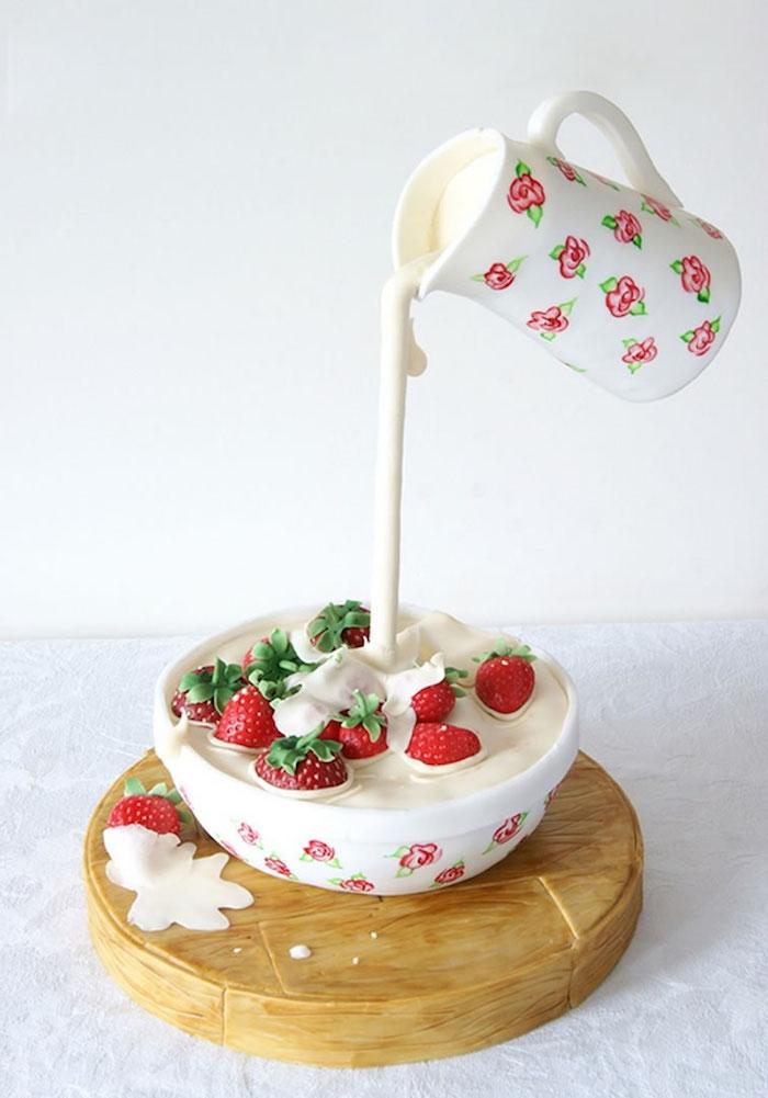 faire un gateau insolite, gateau gravitation en coupelle blanche avec lait et fraises, idee gateau d anniversaire adulte original