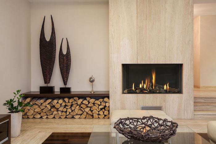 insert cheminée a vitre foyer ouvert fermé mur en bois