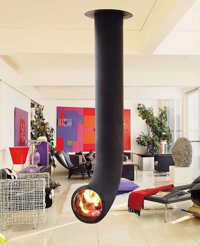 insert cheminée design intérieur foyer tube salon