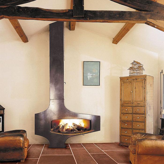 insert cheminée design metal fonte foyer fermé bois