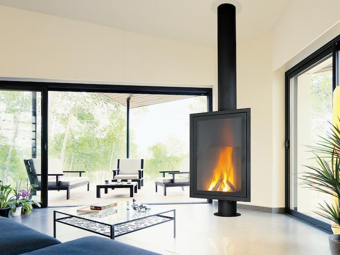 insert cheminée design vitre foyer fermé moderne interieur salon déco