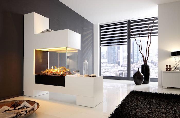 insert cheminée prix foyer moderne fermé vitre blanc decoration