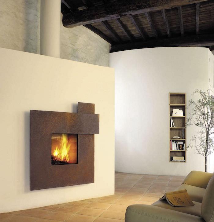 insert cheminée rustique metal rouille cuivre foyer fermé