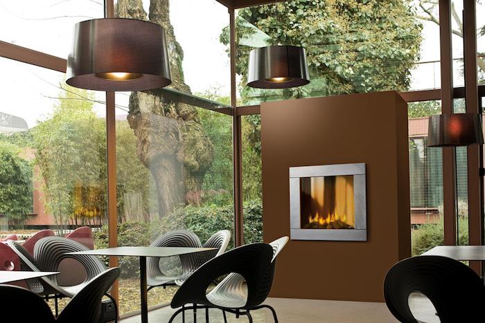 insert de cheminée foyer moderne decoration insert design marron