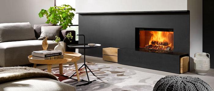 insert pour chemniée design intérieur salon paroi cloison noire