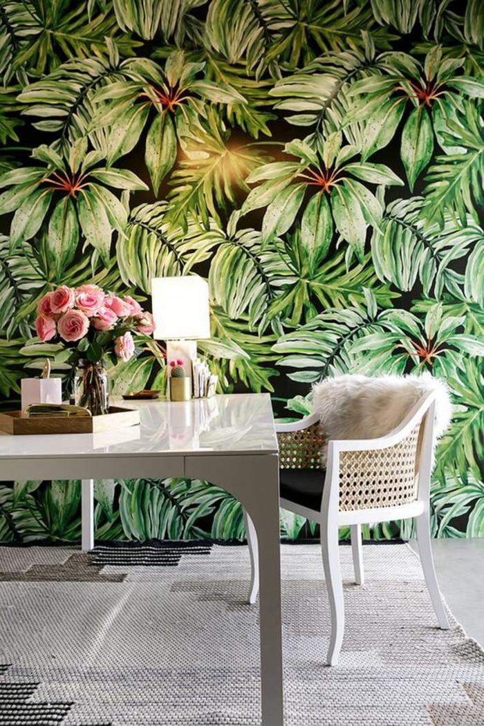 intérieur-blanc-papaier-peint-mural-motif-jungle