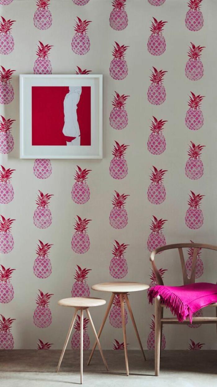 intérieur-girly-tendance-papier-peint-exotique-ananas