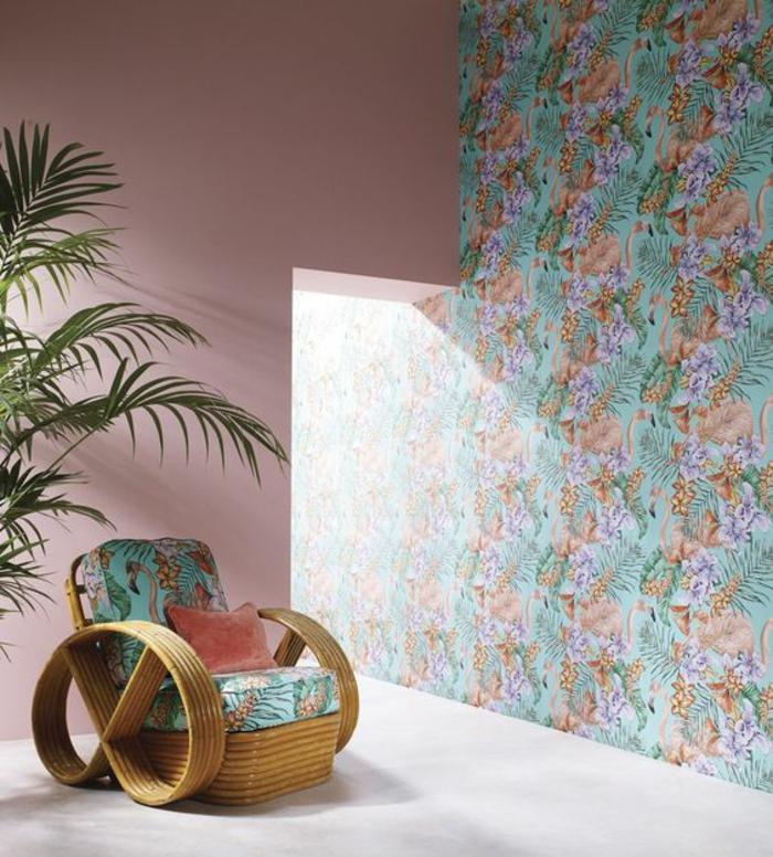 intérieur-salon-tropical-papier-peint-decoratif-à-motif-ananas