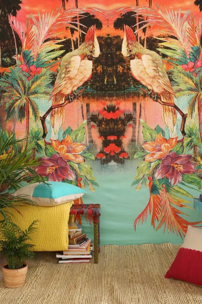 intérieur-tropical-papier-peint-exotique-bariolé