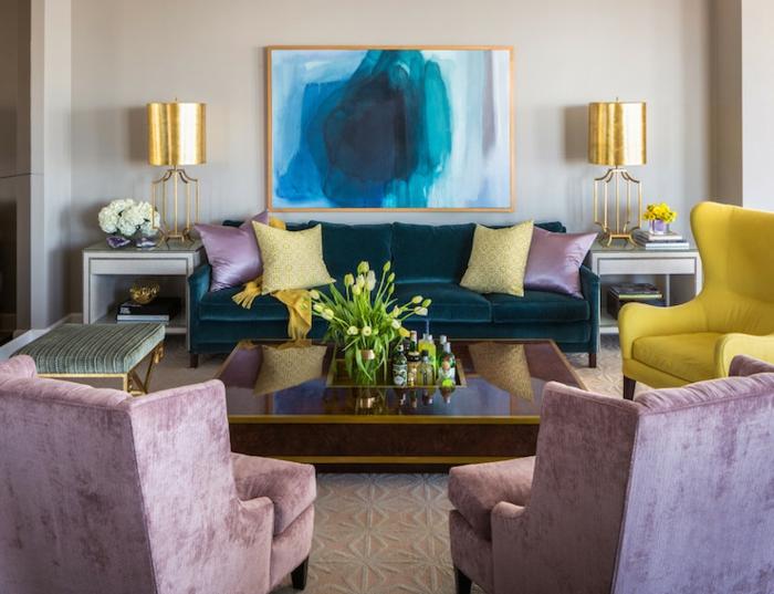 interieur-deco-chambre-adulte-bleu-paon-peinture-de-mur-cool