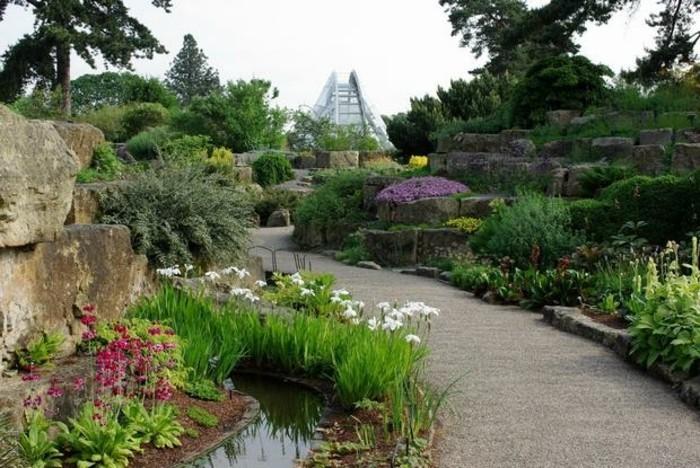 jardin-rocaille-une-allée-en-pierre-bordée-de-rochers-envahis-de-plantes-vertes-et-de-fleurs-idée-amenagement-jardin