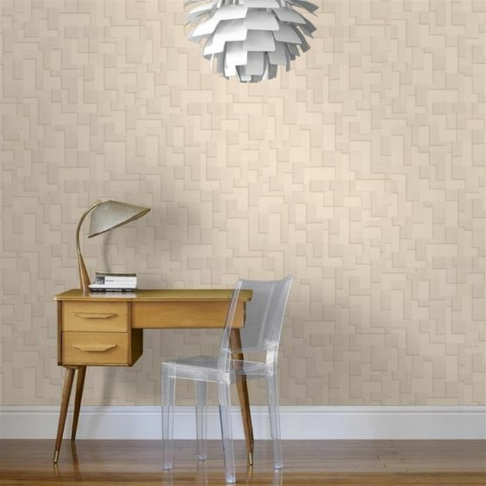joli-papier-peint-géométrique-beige-revêtement-mural-salon-