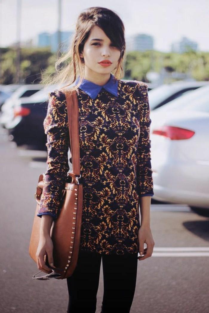 jolie-chemise-imprimée-style-rétro-chemisier-col-claudine-femme