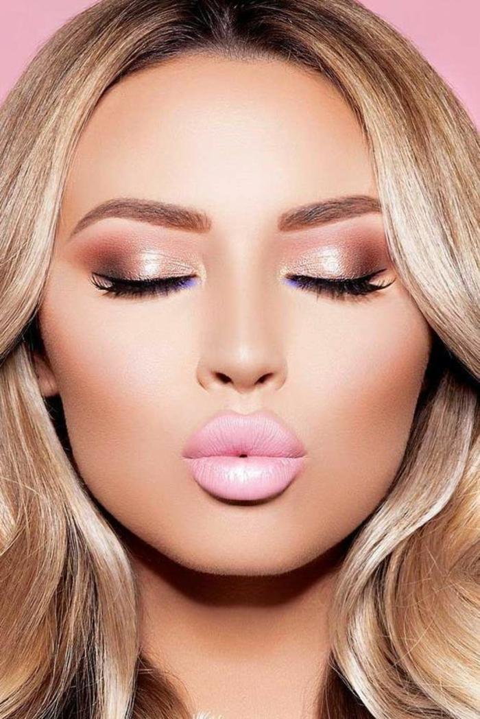 Maquillage de tous les jours comment maquiller les yeux rose rouge à lèvre