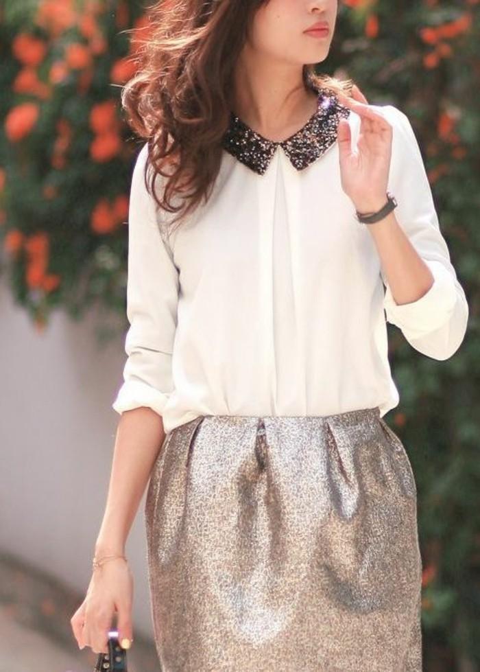 jupe-à-sequin-chemisette-femme-à-col-claudine-glamour