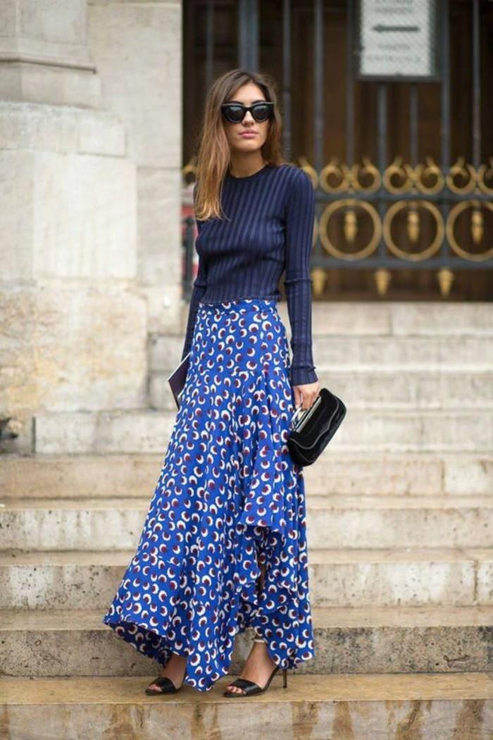 jupe taille haute évasée en bleu